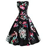 maxsan Summer Floral Dresses Women Big Swing Vintage Retro Rockabilly Pin Up Dress Slim Elegant Part...