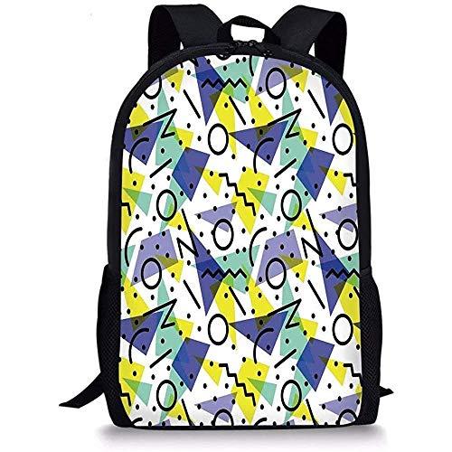 Hui-Shop Decoración Moderna de Mochilas Escolares, Imagen temática geométrica de los años 80 Retro con líneas círculos y Manchas, Azul Amarillo y Negro para niños niñas