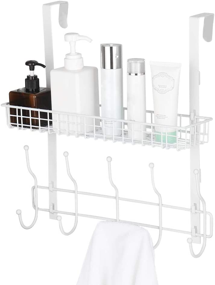 Coat Rack Over The Door Basket Hook Metal Shelf Organizer Black with 5 Hooks and Basket Storage Fit Well at Bedroom Kitchen Bathroom Office for Towels Hats