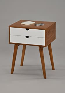 Dark Oak / White Side End Table Nighstand with Two Drawer 24