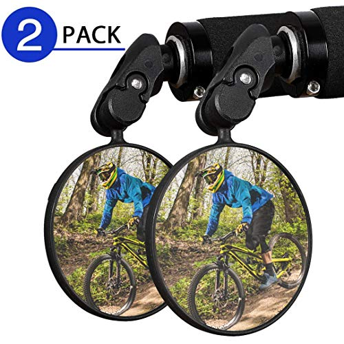 Eleckal Bike Mirror, 2pcs Bicycle Cycling Rear View Mirrors, Wide Angle Rear View Shockproof Convex Mirror Adjustable Handlebar Mounted Plastic Convex Mirror for Mountain Road Bike Bicycle