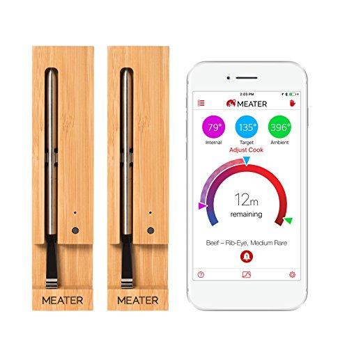 MEATER 2 Unidades Ahorre €20   10m Termómetro inalámbrico Inteligente para Carne para el Horno, Parrilla de Cocina, Barbacoa, ahumador, asador con Bluetooth y conectividad Digital WiFi