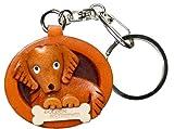 Golden Retriever placa de piel perro llavero VANCA craft-collectible llavero hecho en Japón