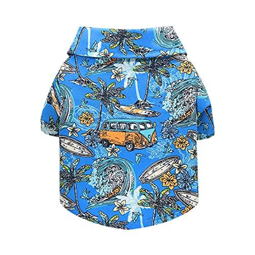 Katenpid Dog Summer Beach Shirt Short Sleeve Hawaiian Floral T Shirt Small Dog Cats Cool Summer Vest Pet Clothes (a, Large)