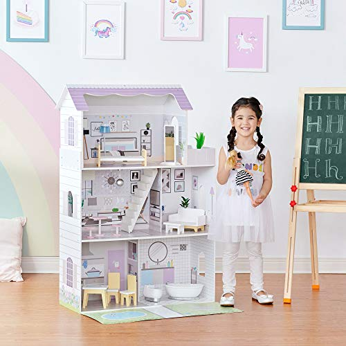 Olivia's Little World Girls Wooden Grand 12' Dollhouse with Garden & Accessories TD-12383E
