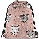 huatongxin Bolsa de Gimnasio Ligera,Tote School Rucksack,Unisex Bolsa de Hombro,Drawstring Backpack,Light Brown Bear Sport Cinch Pack,Gym Sack Bag,Travel String Pull Bag