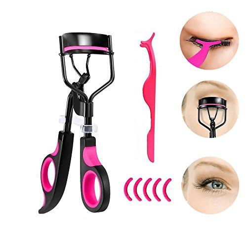 Ealicere Piegaciglia Inossidabile di Trucco Ciglia Curling Tool +5 Accessori di Ricambio in Silicone +1 Ciglia finte Pinzetta - Rosa&Nero