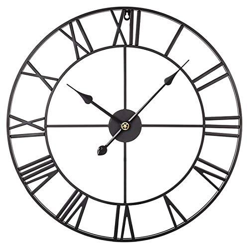 Kepae Wanduhr im Vintage-Stil Metall Römischen Ziffern Uhr Groß, Leise Quartzwerk, Ø ca. 47cm