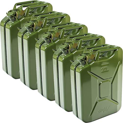 Oxid7® 5X Benzinkanister Kraftstoffkanister Metall 20 Liter - mit UN-Zulassung - TÜV Rheinland Zertifiziert - Bauart geprüft - Einbrennlackiert - Jerry Can mit Bajonettverschluss - Olivgrün
