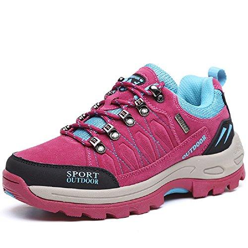 NEOKER Wanderschuhe Trekking Schuhe Herren Damen Sports Outdoor Hiking Sneaker Rot 39