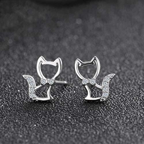 DJMJHG Pendientes de botón de Gatito Lindo de Plata esterlina 925 Cz Gato para Mujer joyería Fina de Plata esterlinaB