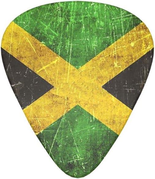 12 púas de guitarra, púa de celuloide para guitarra eléctrica, acústica o bajo, incluyendo bandera jamaicana de 0,46 mm, 0,71 mm, 0,96 mm, añejada y rayada