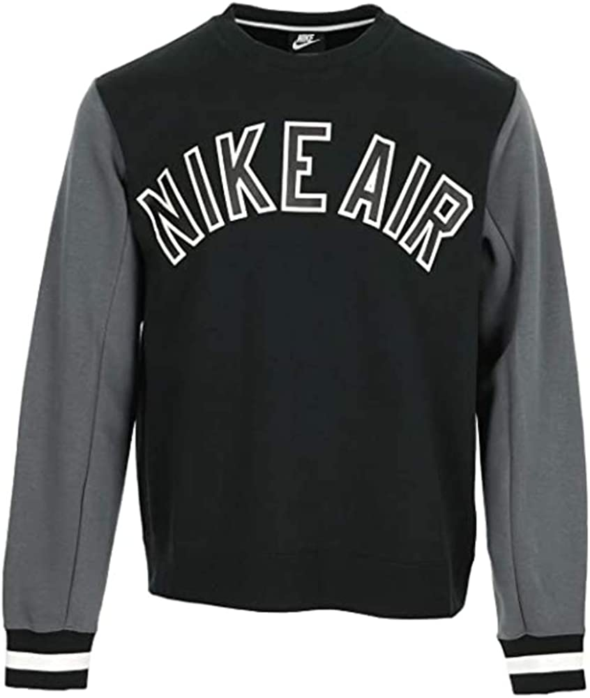 Nike Men's NSW Crewneck Omaha Mall Fleece Grey CN9123-010 Black Sweatshirt Max 42% OFF