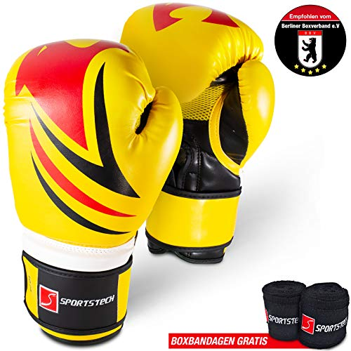 Kampfsport Profi Boxhandschuhe mit revolutionärem Dämpfungssystem & eigenentwickelter Handgelenksfixierung! Handschuhe für Kickboxen, MMA, Sparring, Boxen & Training am Boxsack inkl. Boxbandagen