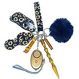 Safety Keychain for Women Set with Alarm, Window Breaker, Wristlet, Pom Pom Keychains Safety Keychain Accessories Kit for Women Kids(Sunflower)