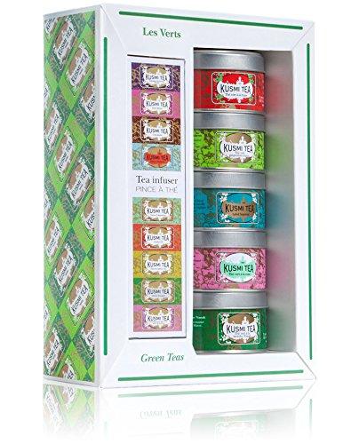 Kusmi Tea - Coffret de 5 Miniatures de Thés Verts Aromatisés + Pince à Thé - Parfums Floraux, Gourmands, Acidulés, et Thé Vert à la Menthe - Mélanges Conditionnés en France - Boîtes à Thé en Métal 5x25g