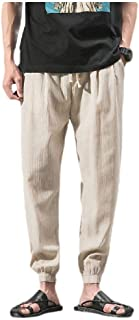 neveraway Men Casual Tenths Pants Harem Pants Linen Tapered Casual Pants