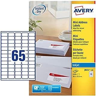 Avery J8651-100 Self-Adhesive Mini Organising/Return Address Labels, 65 Labels Per A4 Sheet