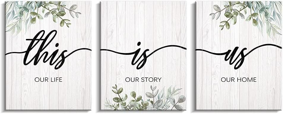 Kas Home This is Us Family Wall Decor - 3 Pieces Boho Inspirational Quotes Wall Art Leaves Printed Canvas Motivational White&Green Framed Painting Artwork for The Home Living Room Bedroom