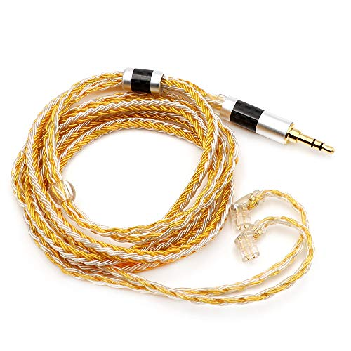 Linsoul Tripowin Zonie 16 Core Silver Plated Cable SPC Earphone Cable for KZ ZSX, ZSN Pro, ZS10 Pro NF2u, QDC IEMs (QDC-3.5mm, Gold)