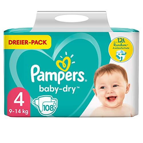 Pampers Größe 4 Baby Dry Windeln, 108 Stück, Für Atmungsaktive Trockenheit (9-14kg)