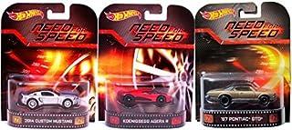 Need for Speed Hot Wheels 3 Car Set -Pontiac GTO, Mustang & Koenigsegg Agera Retro Entertainment Die Cast 1:64 three pack ...