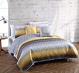 Avondale Manor 5-Piece Cypress Quilt Set, Queen Quilt Set, Lightweight Ultra-Soft Microfiber, Reversible Comfortable Bedding Set, Hypoallergenic Bedspread, Queen, Yellow/Grey