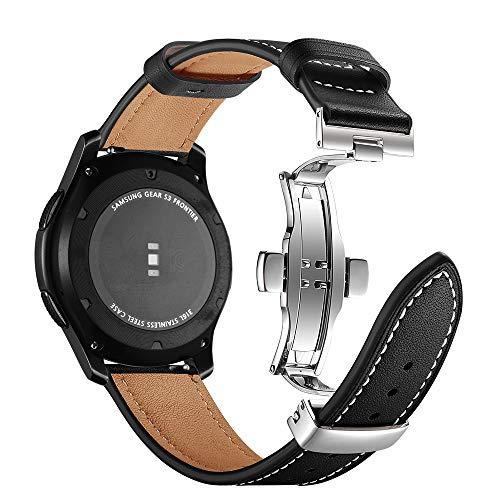 Myada Compatible pour Bracelet Samsung Gear S3 Frontier Cuir, Bracelet Samsung Galaxy Watch 46mm Bracelet 22mm Bracelet Samsung Classic Homme Sport Bande Remplacement de Bracelet pour Gear S3
