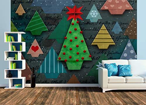 Premium Foto-Tapete ORIGAMI - Weihnachtsbaum (versch. Größen) (Size XL | 465 x 310 cm) Design-Tapete, Wand-Tapete, Wand-Dekoration, Photo-Tapete, Markenqualität von ERFURT