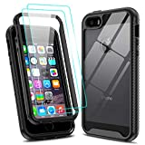 LeYi Compatible for iPhone SE Case (2016), iPhone 5 Case, iPhone 5s Case with 2 Tempered Glass Screen Protector, Full-Body Shockproof Hybrid Bumper Clear Phone Cover Cases for iPhone 5s/5, Black