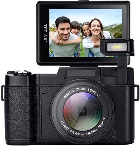 Digitalkamera, Full HD-Fotoapparat 24,0 MP Nachtsicht Kamera digitalkamera 3,0 Zoll 180 ° drehbarer Bildschirm vlogging Camera Digitalzoom-Kompaktkameras mit Blitzlicht Kamera digital
