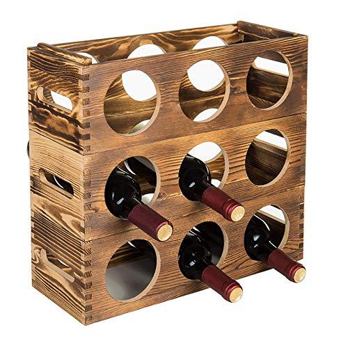 Iozean Estante Vino Madera,Porta Botellas,Portabotellas,Soporte Almacenamiento Cocina,Estantes Rack Stand Vino Botellero 9 Botellas...