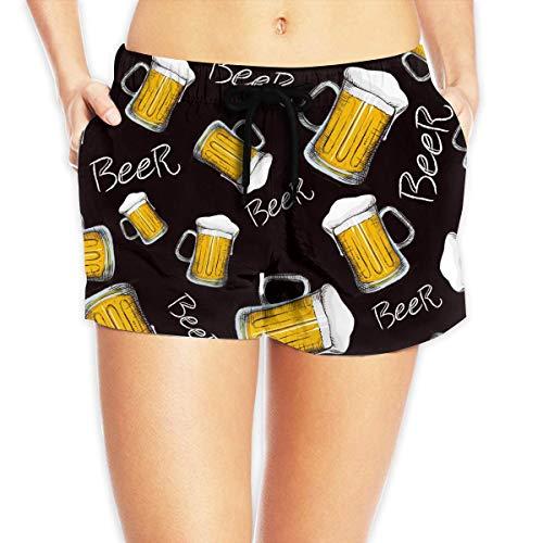Redsheep Jarra de Cerveza Shorts de Playa para Mujer Shorts de Playa con bañador de Bolsillo - Mediano