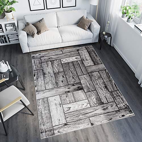 Tapiso Tango Teppich Kurzflor Grau Schwarz Creme Streifen Holzboden Bretter Modern Design Wohnzimmer...