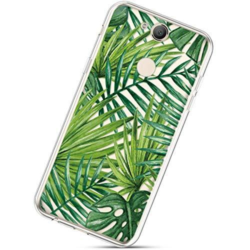Funda Compatible con Sony Xperia XA2,Carcasa KunyFond Calidad Silicona TPU Suave Simple Transparente Pintura Pintado Impresion Colores Flores Premium Vistoso Case Dura Difícil Bumper,Hoja Plátano