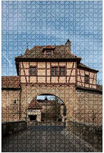 Rompecabezas de madera de 500 piezas The Stronghold gate in The Medieval Town Rothenburg ob der Tauber one Divertido y desafiante Rompecabezas de mesa Juego Juguetes Regalo Decoración para el hogar-P