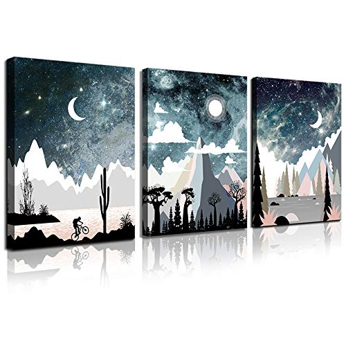 Wall Art for Bedroom Landscape Painting Outer Space Starlight Canvas Prints Star Sky Pictures Astronomy Artwork Bathroom Wall D