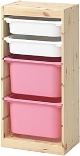 IKEA/イケア TROFAST:収納コンビネーションボックス付き44x30x91 cm ライトホワイトステインパイン/ホワイト/ピンク (992.408.88)