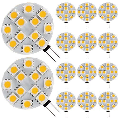 Ei-home 14 Lot Blanc chaud 3000 K côté Pin G4 Ampoule LED, 3 W Ampoule halogène équivalent à 25–30 W, 5050–12smd DC 12 V lumières LED pour la lecture, voiture, RV, Cabinet d'éclairage