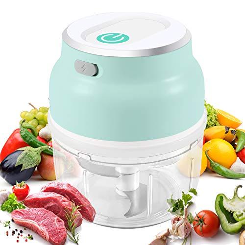 KNMY MINI Elektrisch Zerkleinerer, Zwiebelschneide mit 3 Scharfen Klingen, USB-Aufladung Gemüsezerkleinerer, Küchenmaschine Mixer,für Fleisch, Gemüse, Babynahrung-230ml