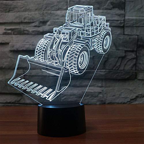 wangZJ Escavatore Gigante Pala Trattore Betoniera Sollevamento Veicolo Camion LED 3D Lampada Bambini Luce notturna Bambini Stile camion 3d luce led/Gigante Pala-4