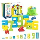 Euclidean Cube Zahlenbausteine Montessori Spielzeug – 46 PCS Eva Bausteine Bildungsspielzeug - Enthält 4 Arten von Farbnummern, Stapelblöcken, Würfel, Aufbewahrungstasche und Anleitung