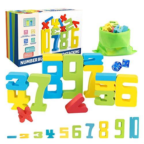 Euclidean Cube Zahlenbausteine Montessori Spielzeug – 46 PCS Eva Bausteine Bildungsspielzeug - Enthält 4...