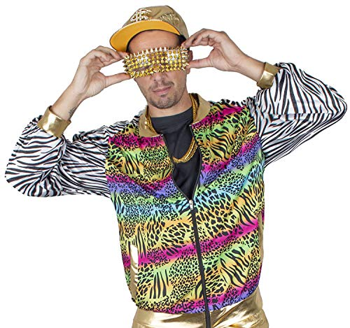 Funny Fashion Herren Kostüm 80er 90er Jahre Jacke Blouson Rapper Hip Hop Pimp bunt Karneval (56/58)