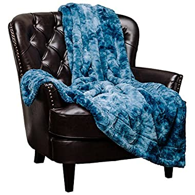 Chanasya Faux Fur Throw Blanket | Super Soft Fuzzy Light Weight Luxurious Cozy Warm Fluffy Plush Hypoallergenic Blanket for Bed Couch Chair Fall Winter Spring Living Room (50  x 65 ) - Blue