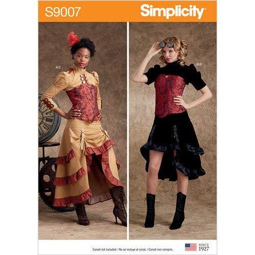 Simplicity S9007 Dames-kostuum, Steampunk-kostuum, papier, wit, verschillende kleuren