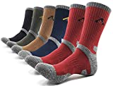 PEACE OF FOOT Hiking Socks boot socks For Mens 6(5+1) Pairs Multi Sports Trekking Climbing Camping working Crew Socks, Black 1 , Olieve 1 , Brown 1 , Blue 1 , Red 2, Mens shoe size 8~10