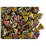 50個はKheopsパーPucaビーズを6ミリメートル - チェコは、三角形状のガラスビーズ、二つの穴、カリフォルニアゴールドピンクを押します(50 pieces 6mm Kheops par Puca Bead - Czech pressed glass beads of triangular shape, two holes, California Gold Pink)