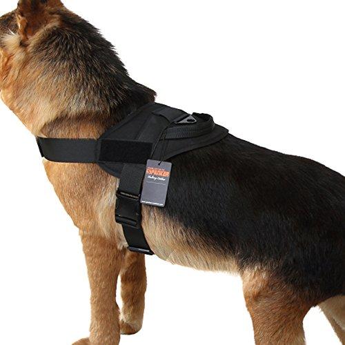 Excellent Elite Spanker Tactical Dog Vest Training Military Patrol K9 Service Dog Harness Adjustable Nylon Dog Harness with Handle(Black-L)