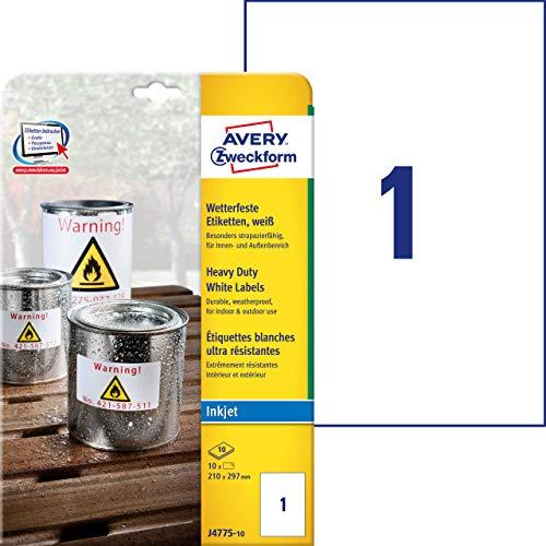 AVERY Zweckform J4775-10 Wetterfeste Folienetiketten (210x297 mm auf DIN A4, Inkjet, extrem stark selbstklebend, bedruckbare Outdoor Klebefolie) 10 Aufkleber auf 10 Blatt weiß